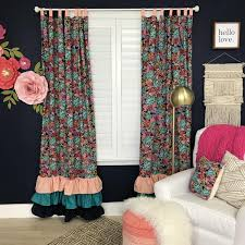 Coral And Navy Curtains Nursery Curtains Caden