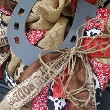 horseshoe wreath cowboy burlap wreath horseshoe wreath from underthekentuckysun on