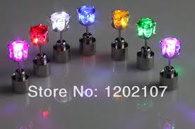 light up earring studs light up 2014 fashion noble crown led earring studs for boys and