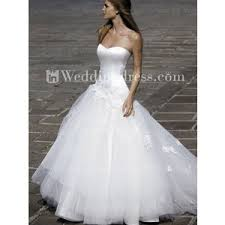 strapless satin tulle dropped waist ball gown wedding dress polyvore