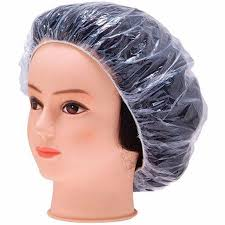 wholesale elastic clear bathing hair care protector hat disposable