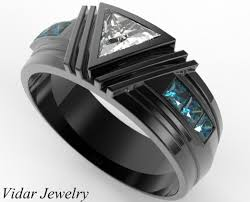 ring men black gold triangle diamond wedding ring for a men vidar jewelry