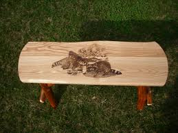 Farm Benches - amish made rustic log sassafras farm bench with your choice of