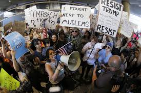 travel ban images Protests at u s airports over travel ban