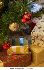 tree decorations and presents uk stock photo royalty