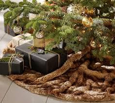 brown christmas tree skirt faux fur tree skirt pottery barn