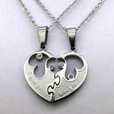 photo engraved necklace personalized couples half heart jewelry necklace for 2