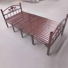 Single Folding Bed Modern Metal Frame Bed Adult Single Folding Bed Metal Slats