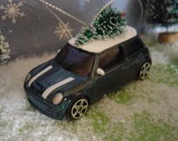 1954 vw beetle deluxe car with tree top ornament