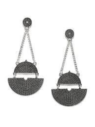 dangler earrings silver oxidised metal dangler earrings