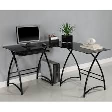 Black Metal And Glass Computer Desk by Walker Edison 3 Piece Contemporary Glass And Steel Desk Best
