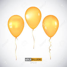 Realistic 3D Transparent Yellow Helium Balloons Isolated On White