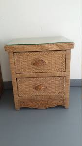 wicker rattan nightstand cottage shabby chic bed table jamaica