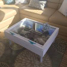 sea shell display table shadow box coffee table distressed