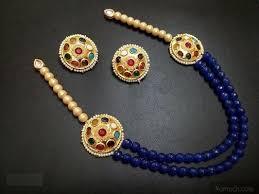 beads necklace images Sides royal blue beads necklace set jpeg