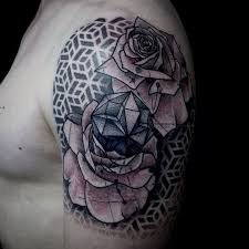 geometric rose tattoo designs pictures to pin on pinterest