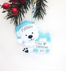 little blue bear personalized christmas ornament first christmas