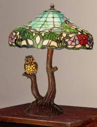 Owl Table Lamp Owl Table Lamps Style Owl Double Lit Stained Glass Table Lamp New