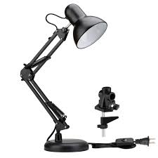 Swing Arm Desk Lamp With Clamp Black Painted Led Swing Arm Desk Lamp C Calmp Table Light Le