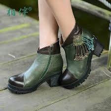 womens boots green leather aliexpress com buy 2016 handmade boots green color