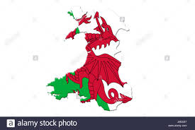 Black And Red Flag Country Map Of Wales With Flag Of Country On It Isolated On White