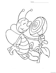 print out coloring page bee with flower for kidsfree printable