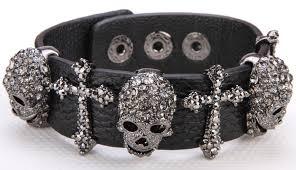 black leather crystal bracelet images Black leather skull cross bracelet for women free shipping worldwide jpg