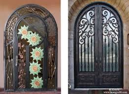 Exterior Door Design Wrought Iron Doors Also Wrought Iron Banister Also Metal Entry