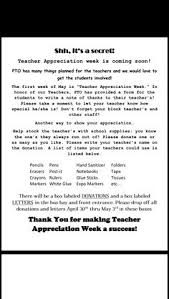 image result for thank you letter to teachers from principal pto