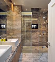 bathroom stainless shower stall clear glas door white sink