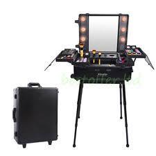 Makeup Artist Station Rolling Studio Makeup Artist Cosmetic Case W Light Leg Mirror