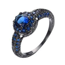 black band engagement rings fashion blue ring wedding band black gold filled jewelry