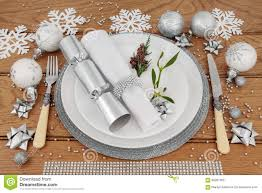 Table Place Settings by Christmas Dinner Place Setting Stock Photo Image 55620425