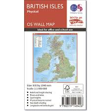 British Isles Map British Isles Physical Features Wall Map Ordnance Survey Shop