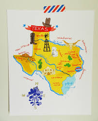 Texas illustrated map 8x10 by helloniccoco on etsy love