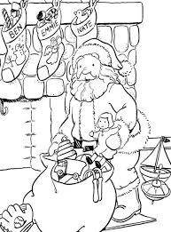 fireplace and stocking santa coloring pages for kids printable