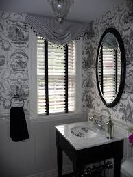 Black Powder Rooms Toile Bathroom Decor Powder Room With Black And White Toile