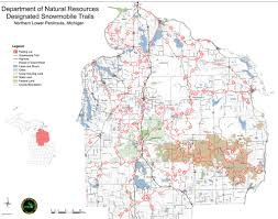 Map Of Southern Michigan by Michigan Snowmobile Trails Northern Lower Peninsula Maplets