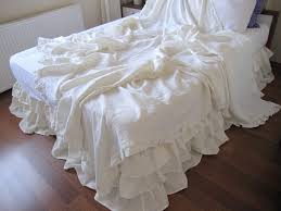 Queen Shabby Chic Bedding by Linen Ruffled Queen Or King Duvet Cover Shabby Chic Bedding
