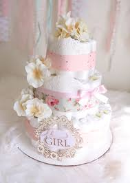 Chic Flower Shabby Chic Flower Diaper Cake Baby Shower Centerpiece Gift