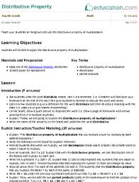 distributive property lesson plan education com