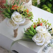 wedding boutonnieres new green succulents plants white flower wedding boutonnieres