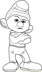 grouchy smurf coloring free smurfs lost village