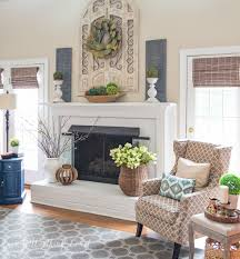my spring fireplace mantel and hearth magnolia leaves willow