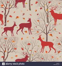 animals in autumn forest pattern fall leaves and trees seamless