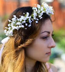 flower for hair white gypsophila crown babys breath flower crown babays breath