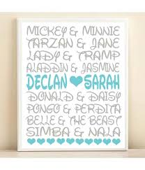 Personalized Names Disney Couples Personalized Names Typography Print 8x10 Or 11x14