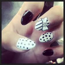 black stripe polka dot bow stiletto nails nails pinterest