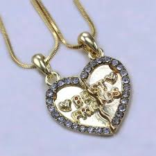ebay necklace heart images Best friend forever bff clear stone heart pendant necklace clear jpg