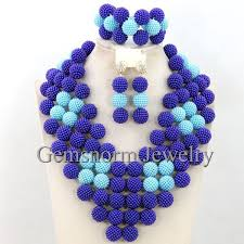aliexpress bead necklace images Gorgeous blue african beads balls necklace set new traditional jpg